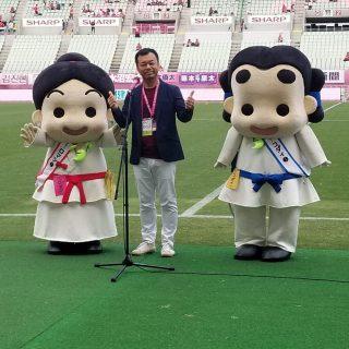 和泉市長とピッチに立って、ご挨拶~!!緊張した~!