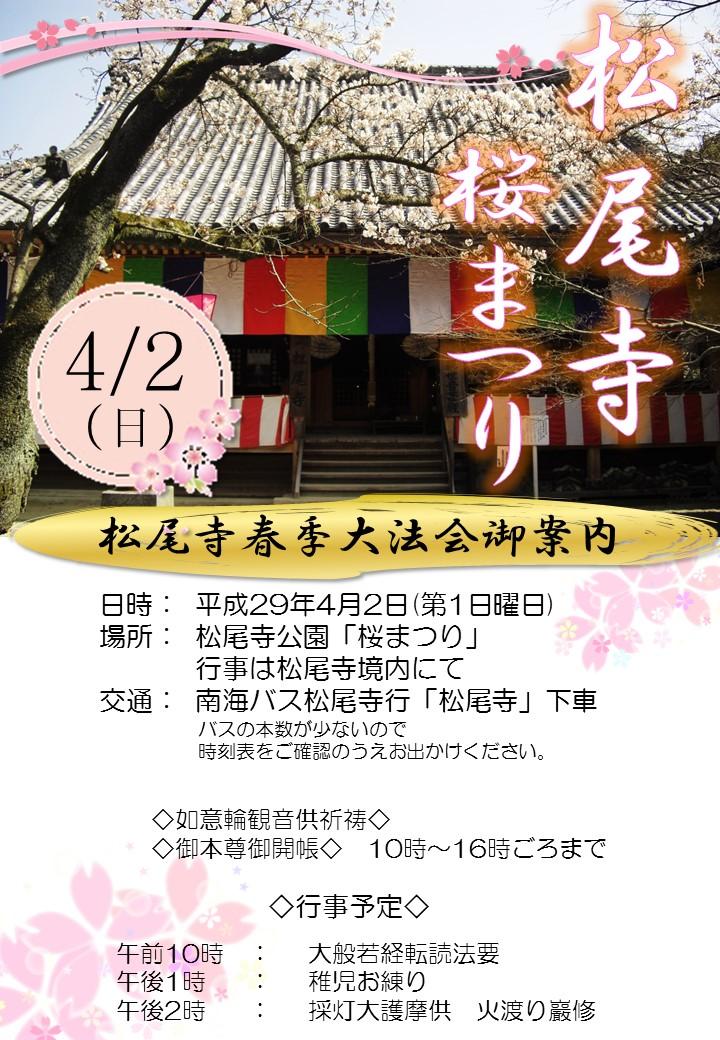 松尾寺【桜まつり】4/2(日)開催